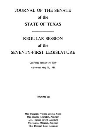 Journal of the Senate of the State of Texas, Regular Session of the Seventy-First Legislature, Volume 3