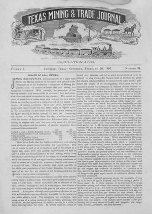 Primary view of object titled 'Texas Mining and Trade Journal, Volume 1, Number 31, Saturday, February 20, 1897'.