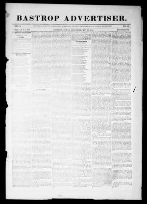 Primary view of object titled 'Bastrop Advertiser (Bastrop, Tex.), Vol. 2, No. 13, Ed. 1 Saturday, May 27, 1854'.