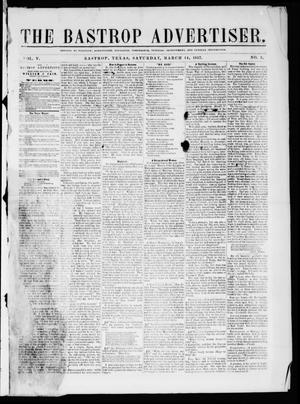 Primary view of object titled 'The Bastrop Advertiser (Bastrop, Tex.), Vol. 5, No. 2, Ed. 1 Saturday, March 14, 1857'.