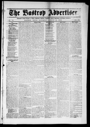 Primary view of object titled 'The Bastrop Advertiser (Bastrop, Tex.), Vol. 6, No. 24, Ed. 1 Saturday, August 14, 1858'.