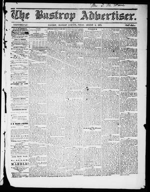Primary view of object titled 'The Bastrop Advertiser (Bastrop, Tex.), Vol. 14, No. 39, Ed. 1 Saturday, August 5, 1871'.