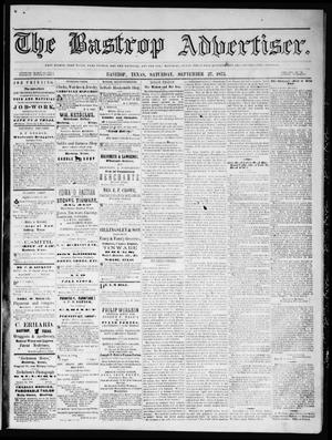 Primary view of object titled 'The Bastrop Advertiser (Bastrop, Tex.), Vol. 16, No. 45, Ed. 1 Saturday, September 27, 1873'.