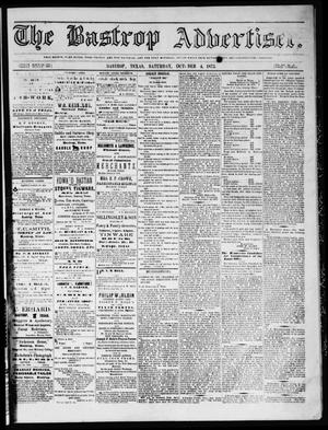 Primary view of object titled 'The Bastrop Advertiser (Bastrop, Tex.), Vol. 16, No. 46, Ed. 1 Saturday, October 4, 1873'.
