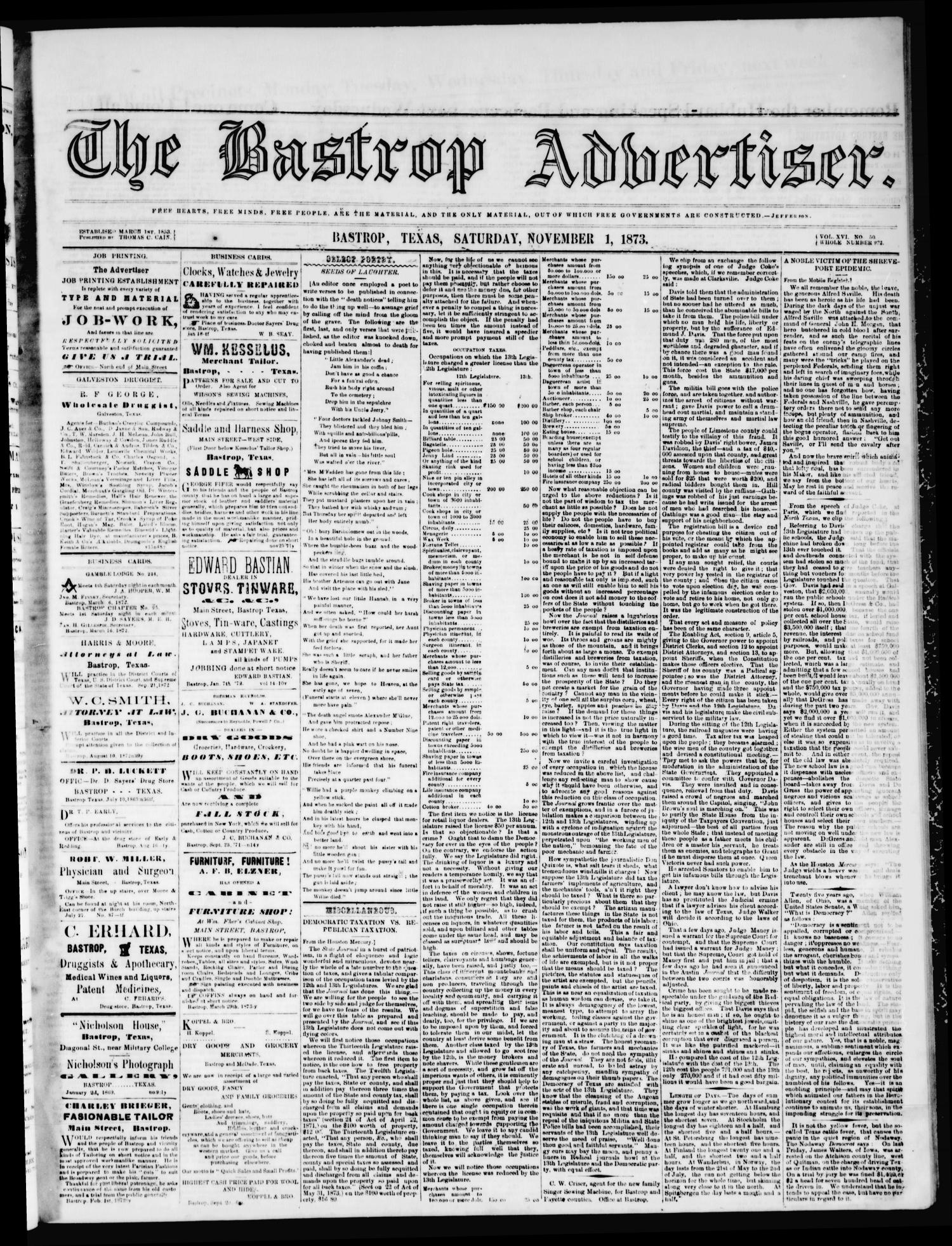 The Bastrop Advertiser (Bastrop, Tex.), Vol. 16, No. 50, Ed. 1 Saturday, November 1, 1873                                                                                                      [Sequence #]: 1 of 4