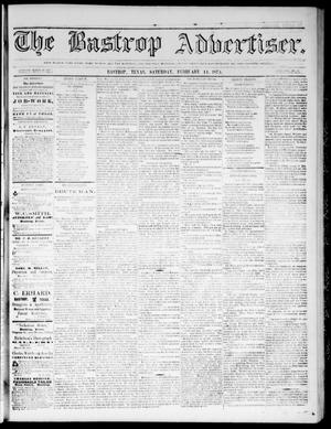 Primary view of object titled 'The Bastrop Advertiser (Bastrop, Tex.), Vol. 17, No. 12, Ed. 1 Saturday, February 14, 1874'.