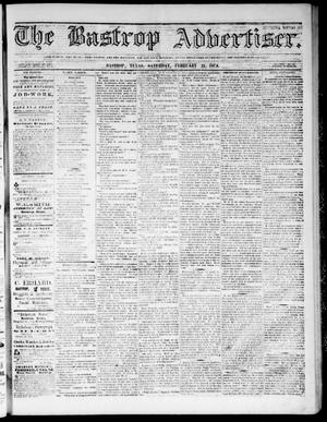 Primary view of object titled 'The Bastrop Advertiser (Bastrop, Tex.), Vol. 17, No. 13, Ed. 1 Saturday, February 21, 1874'.