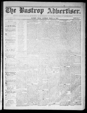 Primary view of object titled 'The Bastrop Advertiser (Bastrop, Tex.), Vol. 17, No. 16, Ed. 1 Saturday, March 14, 1874'.