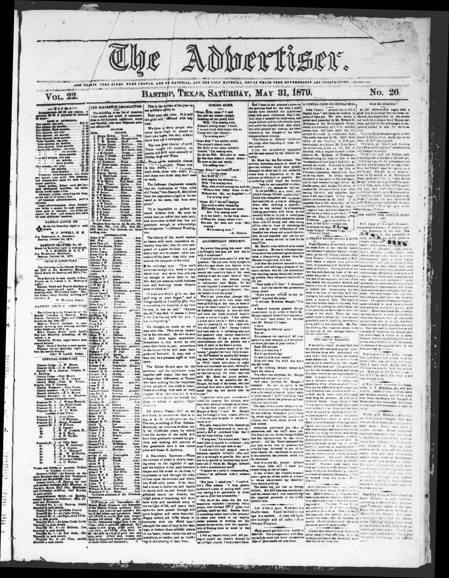 The Advertiser (Bastrop, Tex.), Vol. 22, No. 26, Ed. 1 Saturday, May 31, 1879                                                                                                      [Sequence #]: 1 of 4