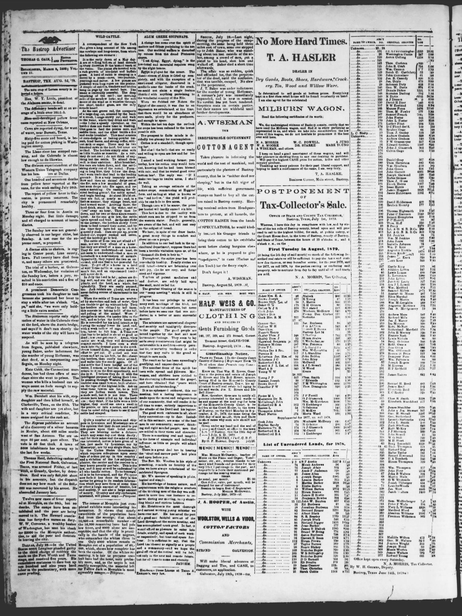 The Advertiser (Bastrop, Tex.), Vol. 22, No. 35, Ed. 1 Saturday, August 2, 1879                                                                                                      [Sequence #]: 2 of 4