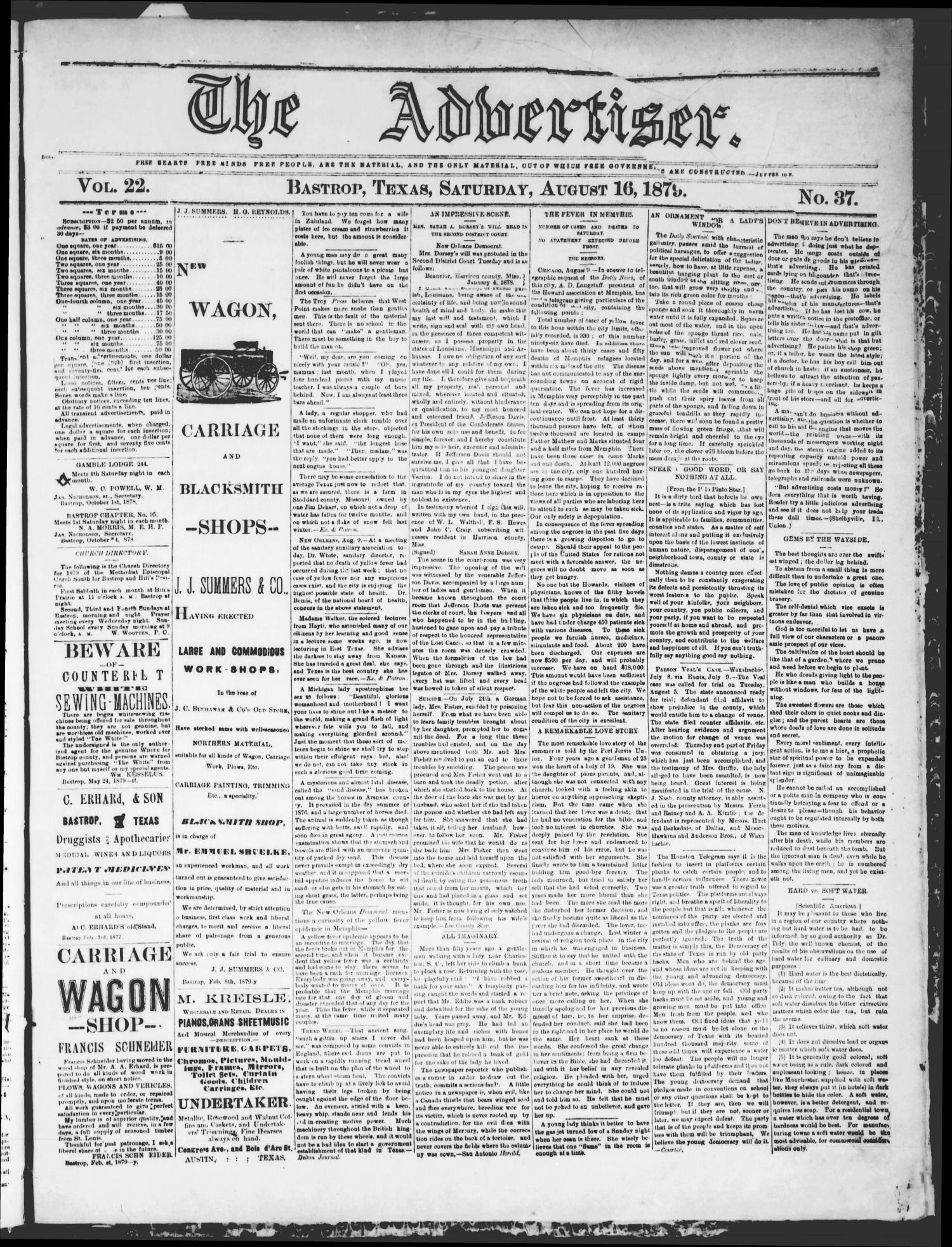 The Advertiser (Bastrop, Tex.), Vol. 22, No. 37, Ed. 1 Saturday, August 16, 1879                                                                                                      [Sequence #]: 1 of 4