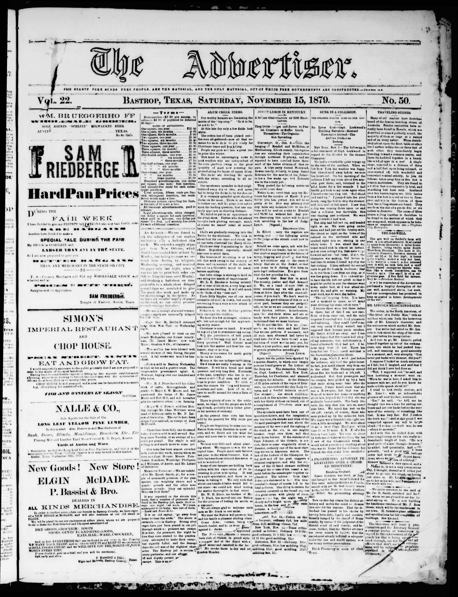 The Advertiser (Bastrop, Tex.), Vol. 22, No. 50, Ed. 1 Saturday, November 15, 1879                                                                                                      [Sequence #]: 1 of 2