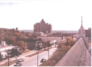 Primary view of object titled '[The Baker Hotel:  A Picture Taken From the South Window of the Hexagon Hotel]'.