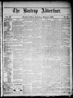 The Bastrop Advertiser (Bastrop, Tex.), Vol. 25, No. 11, Ed. 1 Saturday, March 4, 1882