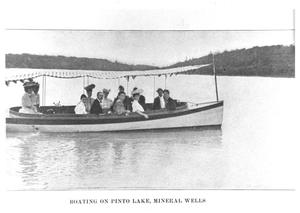 Primary view of object titled 'Boating on Pinto Lake, Mineral Wells'.
