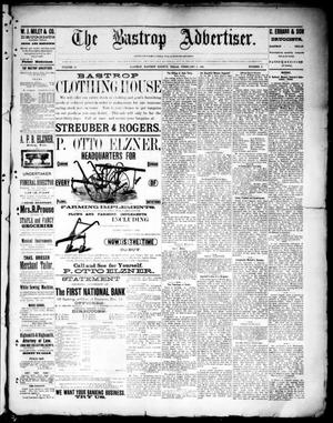 Primary view of object titled 'The Bastrop Advertiser (Bastrop, Tex.), Vol. 33, No. 2, Ed. 1 Saturday, February 8, 1890'.