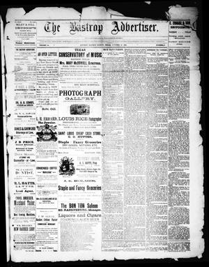 Primary view of object titled 'The Bastrop Advertiser (Bastrop, Tex.), Vol. 34, No. 39, Ed. 1 Saturday, October 29, 1892'.