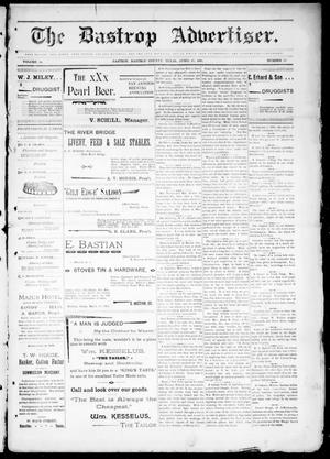 Primary view of object titled 'The Bastrop Advertiser (Bastrop, Tex.), Vol. 44, No. 17, Ed. 1 Saturday, April 25, 1896'.
