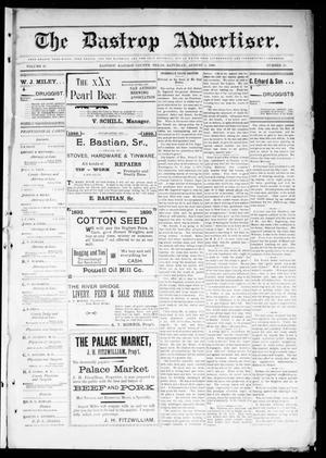 Primary view of object titled 'The Bastrop Advertiser (Bastrop, Tex.), Vol. 47, No. 23, Ed. 1 Saturday, August 5, 1899'.