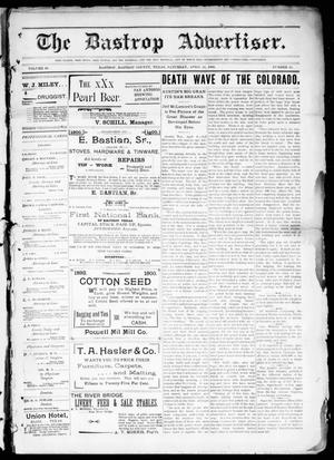 Primary view of object titled 'The Bastrop Advertiser (Bastrop, Tex.), Vol. 48, No. 15, Ed. 1 Saturday, April 14, 1900'.