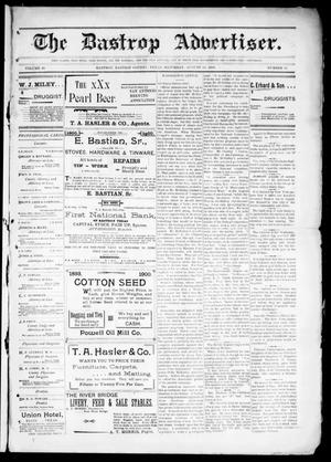 Primary view of object titled 'The Bastrop Advertiser (Bastrop, Tex.), Vol. 48, No. 33, Ed. 1 Saturday, August 18, 1900'.
