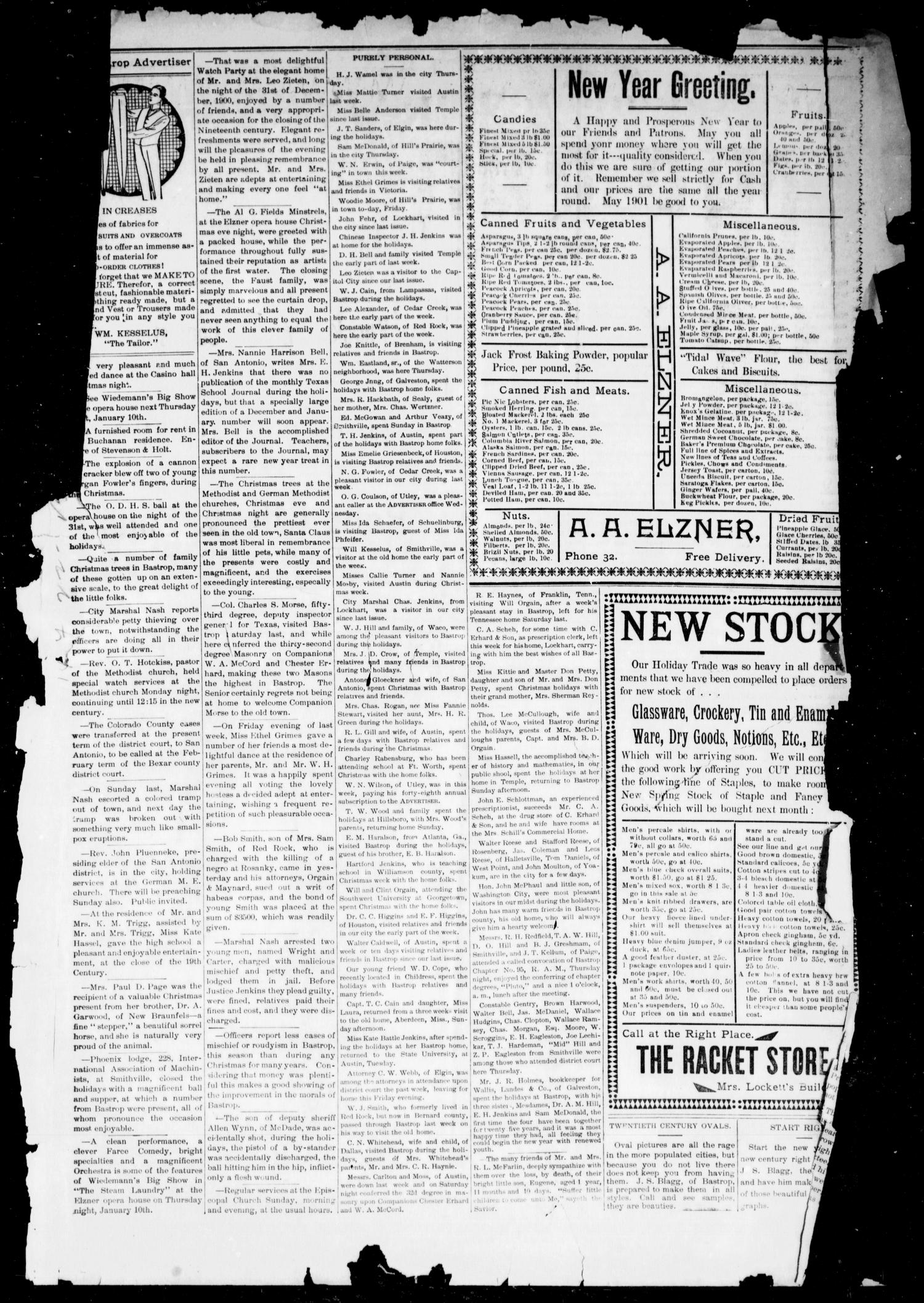 The Bastrop Advertiser (Bastrop, Tex.), Vol. 48, No. 1, Ed. 1 Saturday, January 5, 1901                                                                                                      [Sequence #]: 1 of 6
