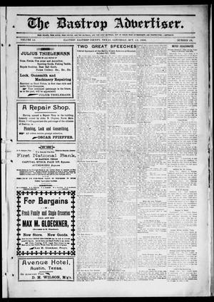 Primary view of object titled 'The Bastrop Advertiser (Bastrop, Tex.), Vol. 54, No. 29, Ed. 1 Saturday, October 13, 1906'.