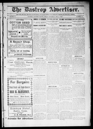 Primary view of object titled 'The Bastrop Advertiser (Bastrop, Tex.), Vol. 54, No. 44, Ed. 1 Saturday, February 2, 1907'.