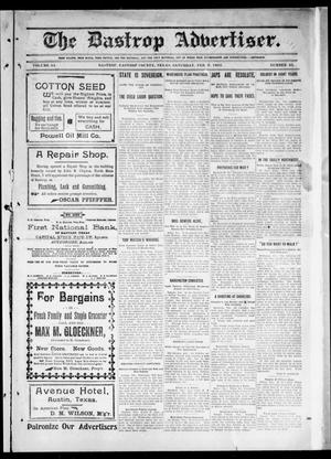 Primary view of object titled 'The Bastrop Advertiser (Bastrop, Tex.), Vol. 54, No. 45, Ed. 1 Saturday, February 9, 1907'.