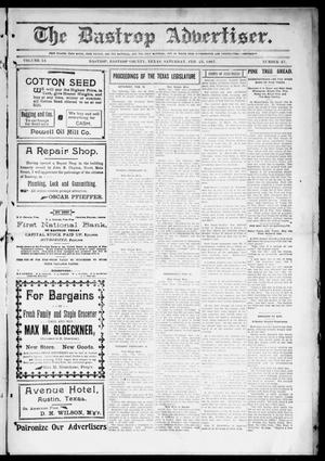 Primary view of object titled 'The Bastrop Advertiser (Bastrop, Tex.), Vol. 54, No. 47, Ed. 1 Saturday, February 23, 1907'.