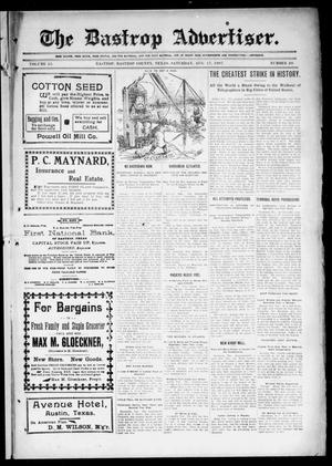 Primary view of object titled 'The Bastrop Advertiser (Bastrop, Tex.), Vol. 55, No. 20, Ed. 1 Saturday, August 17, 1907'.