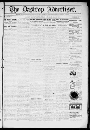 Primary view of object titled 'The Bastrop Advertiser (Bastrop, Tex.), Vol. 56, No. 37, Ed. 1 Saturday, December 19, 1908'.