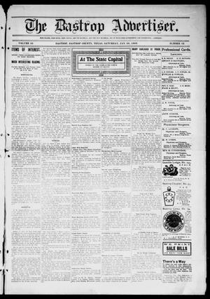 Primary view of object titled 'The Bastrop Advertiser (Bastrop, Tex.), Vol. 56, No. 42, Ed. 1 Saturday, January 30, 1909'.