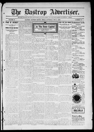 Primary view of object titled 'The Bastrop Advertiser (Bastrop, Tex.), Vol. 56, No. 43, Ed. 1 Saturday, February 6, 1909'.