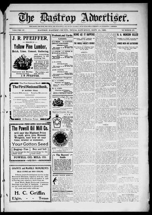 Primary view of object titled 'The Bastrop Advertiser (Bastrop, Tex.), Vol. 57, No. 23, Ed. 1 Saturday, September 18, 1909'.