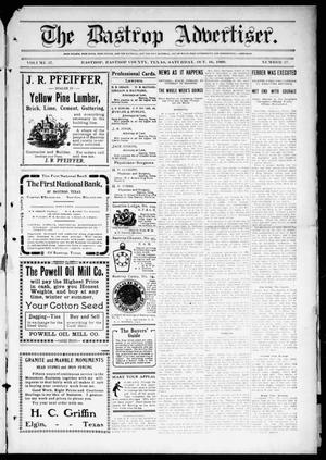 Primary view of object titled 'The Bastrop Advertiser (Bastrop, Tex.), Vol. 57, No. 27, Ed. 1 Saturday, October 16, 1909'.