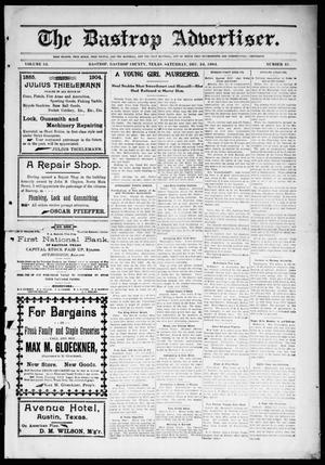 Primary view of object titled 'The Bastrop Advertiser (Bastrop, Tex.), Vol. 52, No. 41, Ed. 1 Saturday, December 24, 1904'.