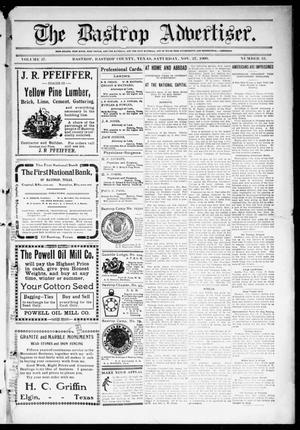 Primary view of object titled 'The Bastrop Advertiser (Bastrop, Tex.), Vol. 57, No. 33, Ed. 1 Saturday, November 27, 1909'.