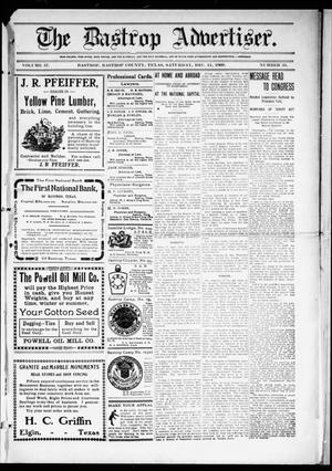 Primary view of object titled 'The Bastrop Advertiser (Bastrop, Tex.), Vol. 57, No. 35, Ed. 1 Saturday, December 11, 1909'.