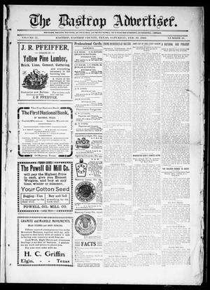 Primary view of object titled 'The Bastrop Advertiser (Bastrop, Tex.), Vol. 57, No. 44, Ed. 1 Saturday, February 19, 1910'.