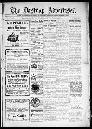 Primary view of object titled 'The Bastrop Advertiser (Bastrop, Tex.), Vol. 57, No. 40, Ed. 1 Saturday, January 22, 1910'.