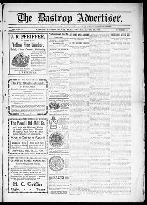 Primary view of object titled 'The Bastrop Advertiser (Bastrop, Tex.), Vol. 57, No. 45, Ed. 1 Saturday, February 26, 1910'.