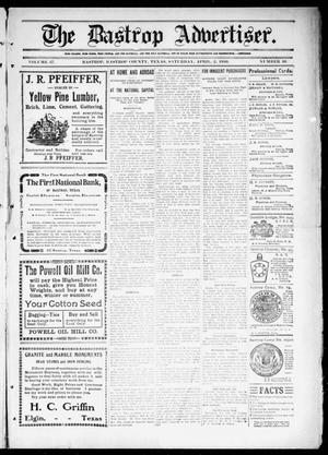 Primary view of object titled 'The Bastrop Advertiser (Bastrop, Tex.), Vol. 57, No. 50, Ed. 1 Saturday, April 2, 1910'.