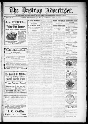 Primary view of object titled 'The Bastrop Advertiser (Bastrop, Tex.), Vol. 57, No. 52, Ed. 1 Saturday, April 16, 1910'.