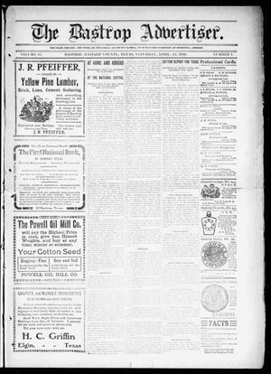 Primary view of object titled 'The Bastrop Advertiser (Bastrop, Tex.), Vol. 58, No. 1, Ed. 1 Saturday, April 23, 1910'.