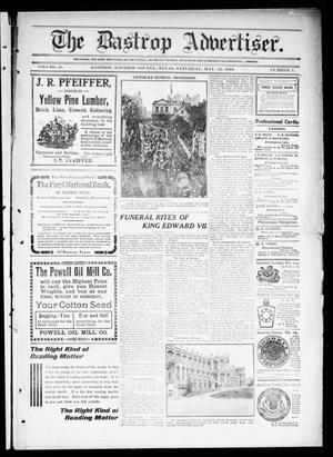 Primary view of object titled 'The Bastrop Advertiser (Bastrop, Tex.), Vol. 58, No. 5, Ed. 1 Saturday, May 21, 1910'.