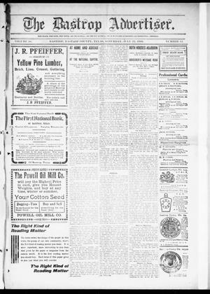 Primary view of object titled 'The Bastrop Advertiser (Bastrop, Tex.), Vol. 58, No. 14, Ed. 1 Saturday, July 23, 1910'.