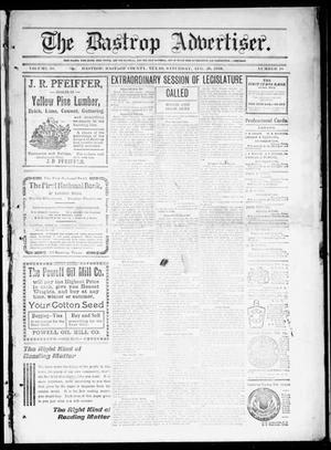 Primary view of object titled 'The Bastrop Advertiser (Bastrop, Tex.), Vol. 58, No. 18, Ed. 1 Saturday, August 20, 1910'.