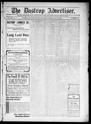 Primary view of object titled 'The Bastrop Advertiser (Bastrop, Tex.), Vol. 58, No. 19, Ed. 1 Saturday, August 27, 1910'.