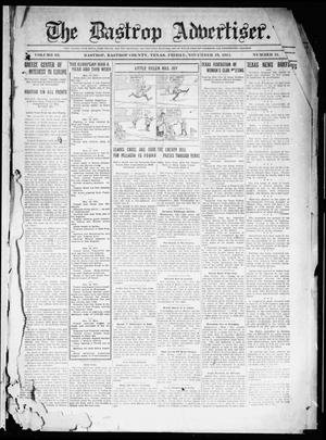 Primary view of object titled 'The Bastrop Advertiser (Bastrop, Tex.), Vol. 63, No. 31, Ed. 1 Friday, November 19, 1915'.